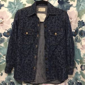 PRE-LOVED Current/Elliott Leopard Denim Top